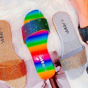 Rainbow rhinestoned sandal